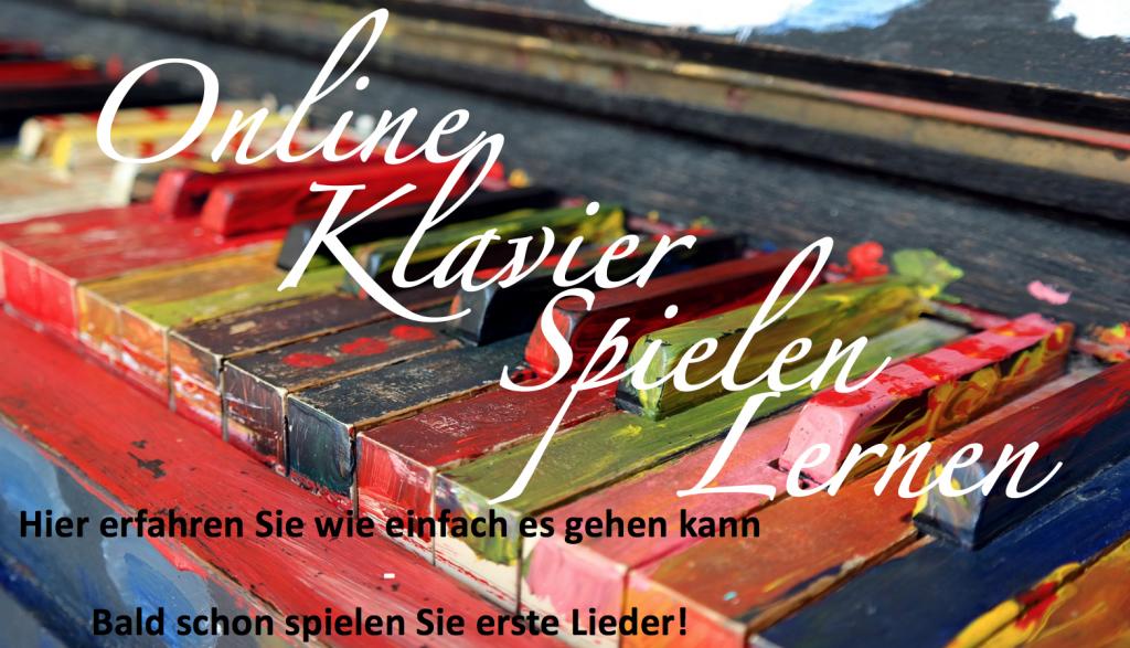 Onlineklavierspielenlernen.de Header Bild in bunt mit weißer Schrift